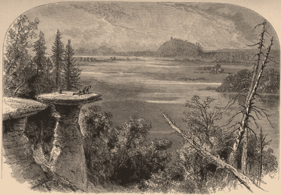 WISCONSIN: Stand Rock, on the Wisconsin River; antique print 1874